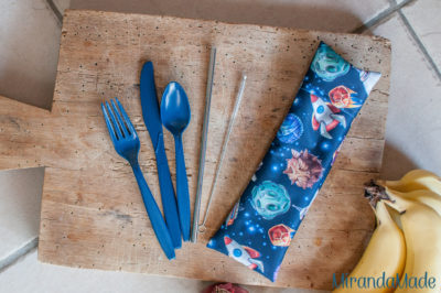 Blue cutlery and bag with straw and space junk print EcoEatz kit