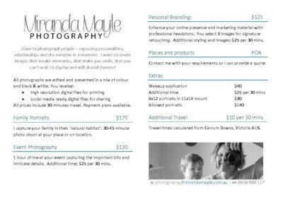 2017 Miranda Mayle Photography Pricelist